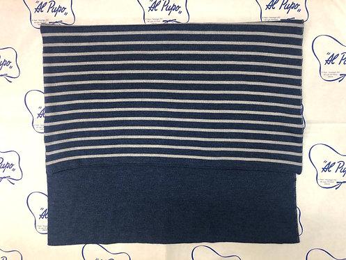 Coperta pura lana artigianale Baby Lord Blu avio e grigio  reversibile