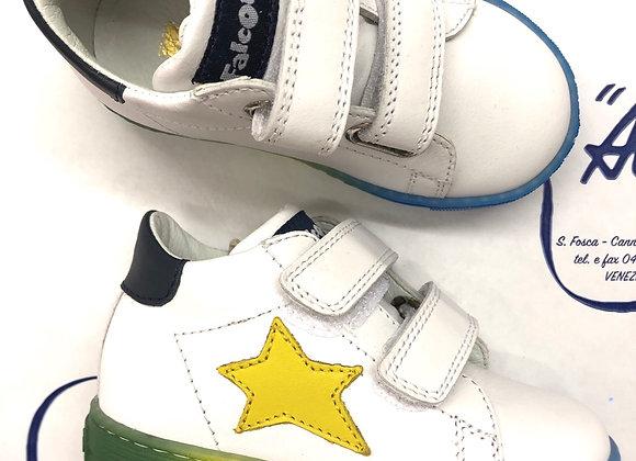 Scarpe FALCOTTO bianche con stella gialla e suola colorata