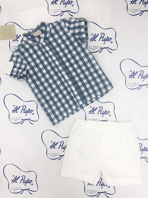 Completo camicia e pantaloncino corto bianco elegante