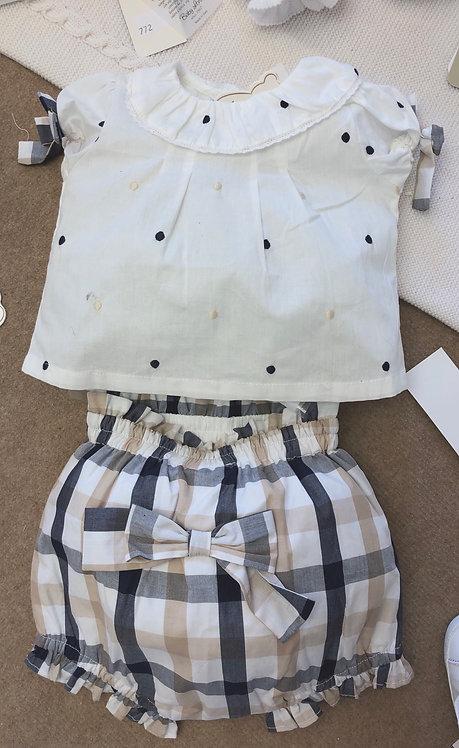 Completo con maglia e culotte SARABANDA bianco, blu e beige