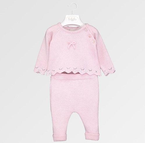 Completo 2 pezzi rosa in tricot Lalalù
