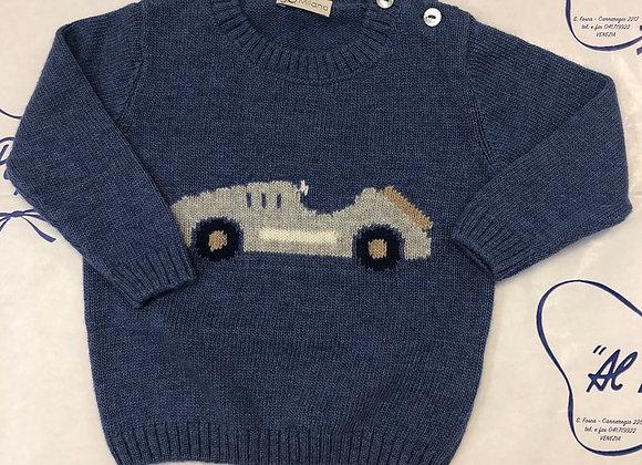 Maglione lana e cachemire JoMilano azzurro avio con macchinina