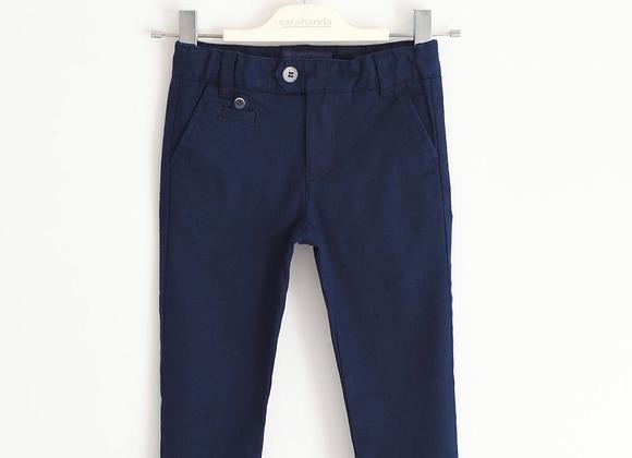 Pantaloni SARABANDA in cotone blu elasticizzato