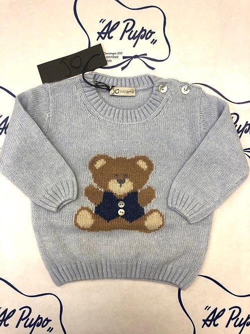 Maglione lana e cachemire JoMilano azzurro con orsetto