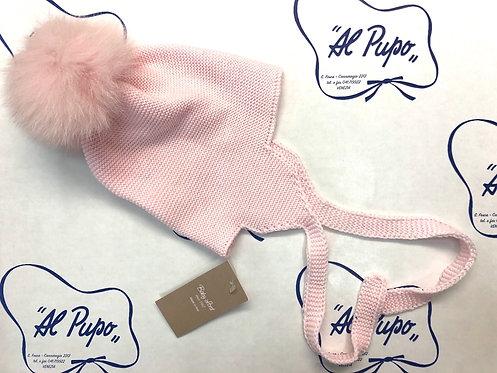 Cuffia in pura lana artigianale e volpe naturale BABY LORD rosa
