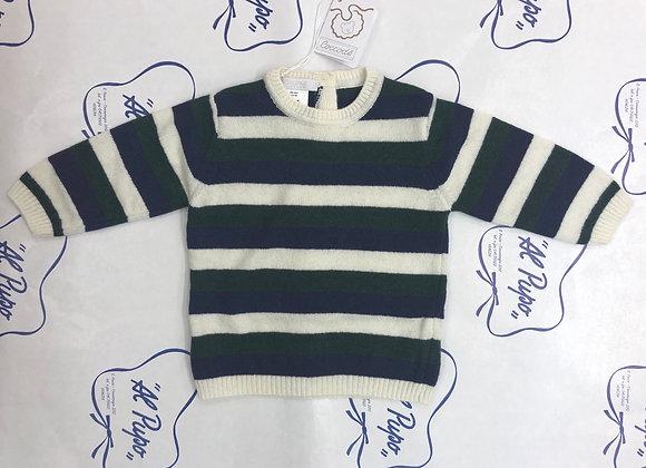 Maglione lana e cachemire Coccodè a righe blu,verde e crema