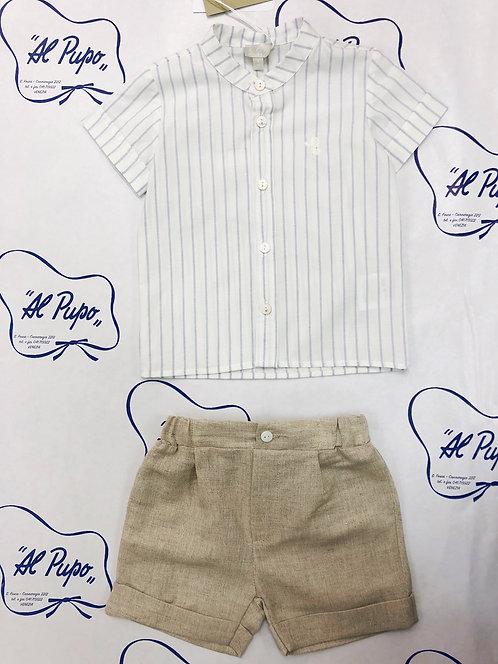 Completo camicia e pantaloncino corto beige  elegante