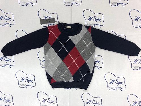 Maglione lana e cachemire JoMilano blu a rombo grigi e rossi