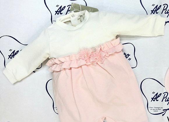 Tutina felpata LALALU  bianca e rosa