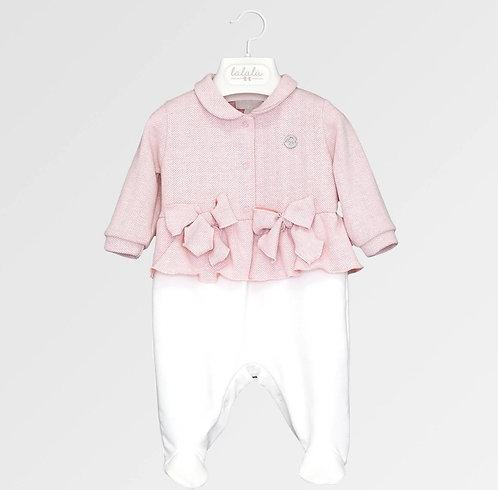Tutina bianca e rosa antico in maglia spigata Lalalù