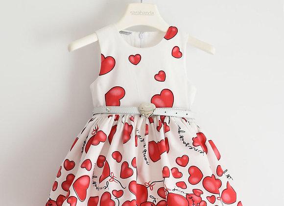 Vestito cuoricini SARABANDA bianco e rosso