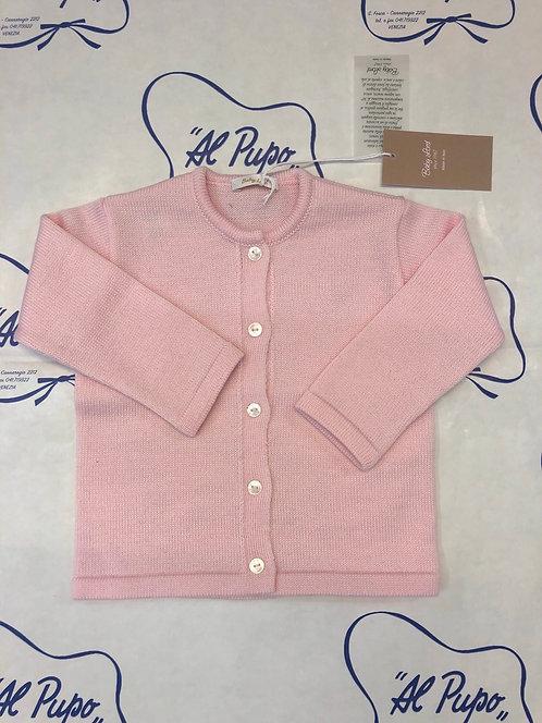 Cardigan in pura lana merinos Baby Lord artigianale rosa