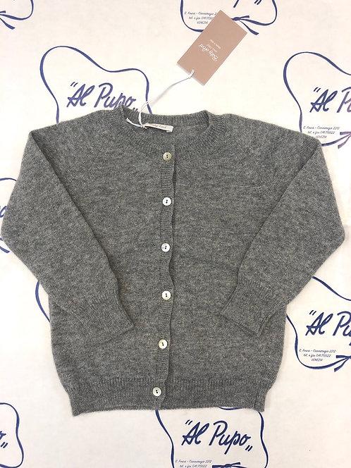 Cardigan in lana e cachemire grigio Baby Lord artigianale