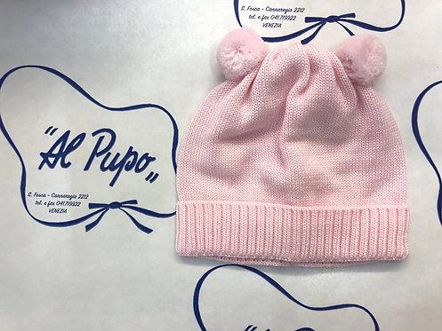 Cuffietta in pura lana artigianale BABY LORD rosa