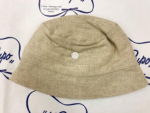 Cappellino in lino color beige corda