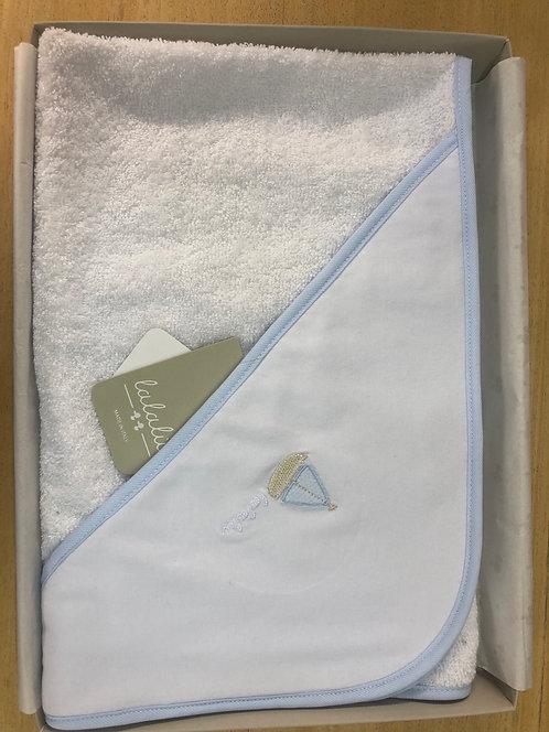 Accappatoio a triangolo LALALÙ bianco e azzurro
