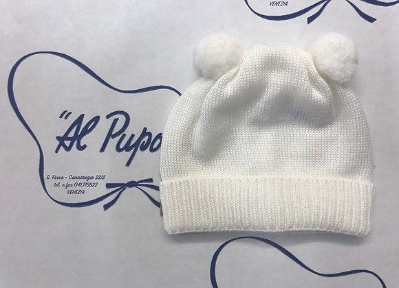 Cuffietta in pura lana artigianale BABY LORD bianca