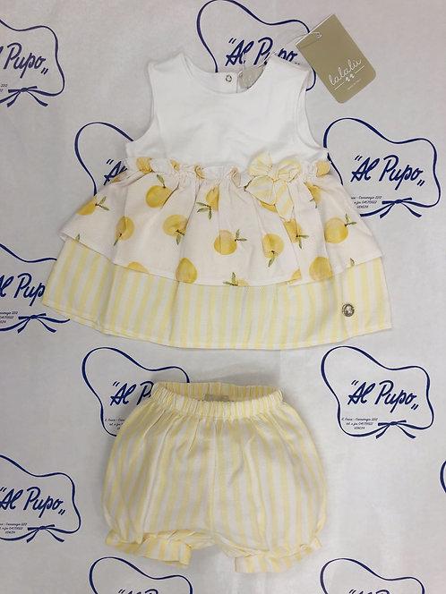 Completo in piquet di cotone bianco e giallo Lalalù