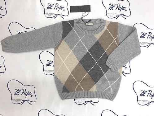 Maglione lana e cachemire JoMilano grigio e beige a rombi