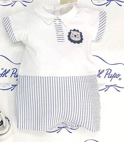 Pagliaccetto cotone LALALÙ bianco e blu jeans