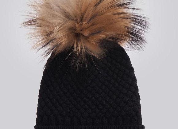 Cuffia lana e cachemire BLAUER nera con pon pon in volpe a