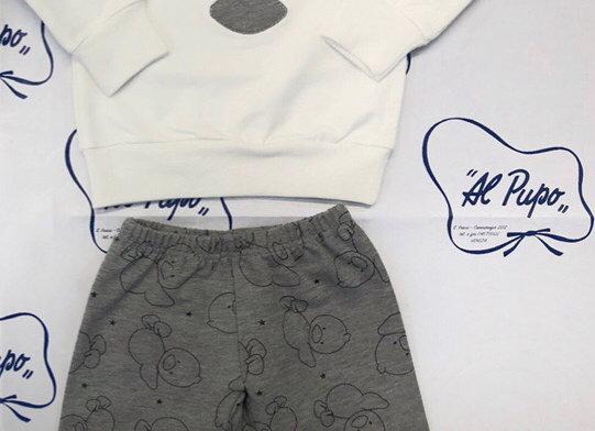 Completo in cotone felpato bianco e grigio LALALÚ