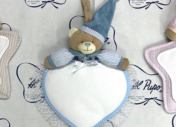FIOCCO NASCITA a forma di cuore con orsetto color azzurro