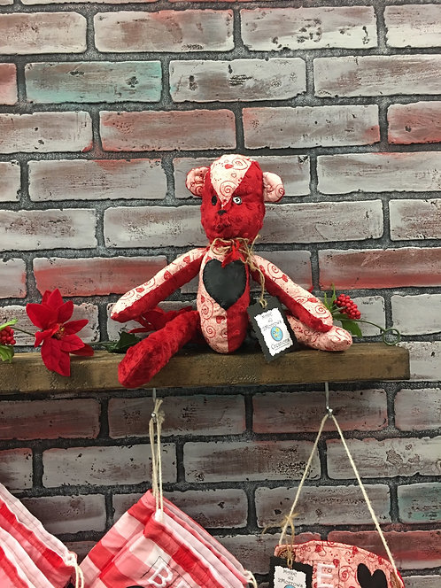 Rustic Love Heart Teddy Bear with chalk heart