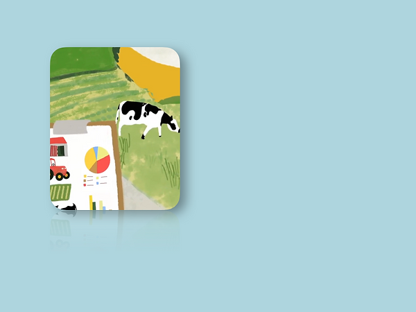Animated still of a cow in a farmyard eating grass