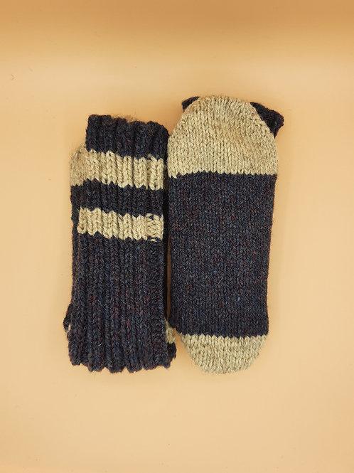 Wool Socks - Medium (7-9)- Stripes - Blue & White