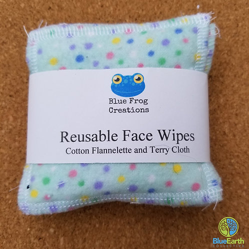 Face Wipes (Reusable) - Blue Dots