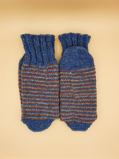 Wool Socks - Medium (7-9) - Stripes - Blue Red White