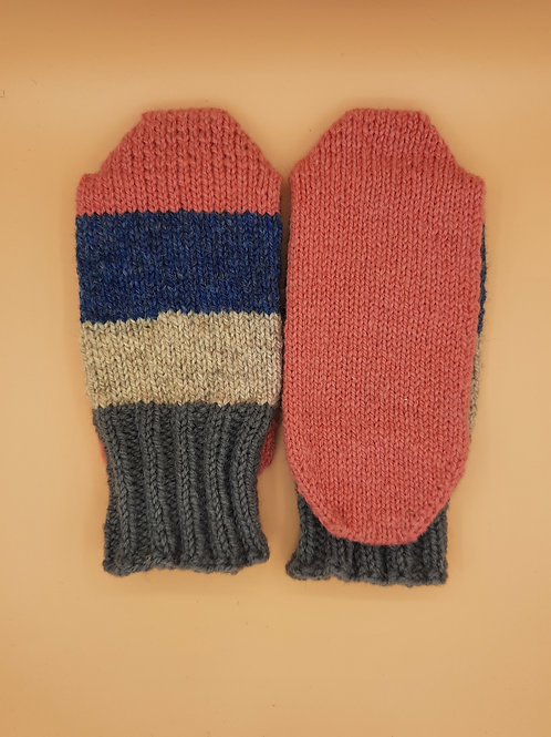 Wool Socks - Size Small (5-6) - Pink Blue and Grey