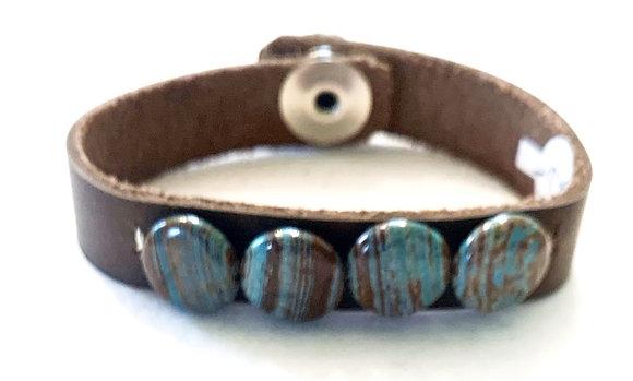 Brown leather & jasper bracelet