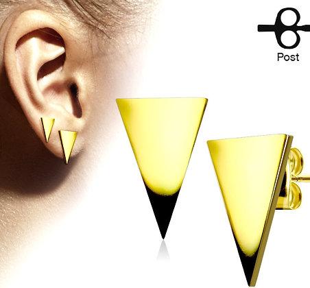 Medium gold triangle studs