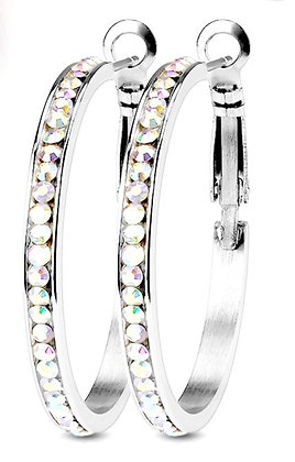 Crystal studded medium hoops