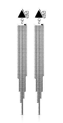 Black triangle dangle earrins