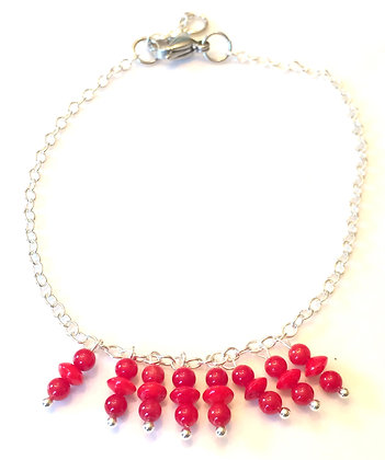 Silver & red beads anklet
