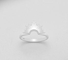 Sunburst silver ring