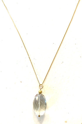Green Amethyst & gold necklace