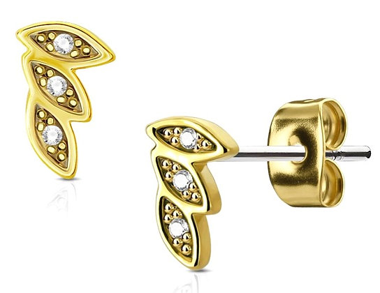 Mini leaves gold studs