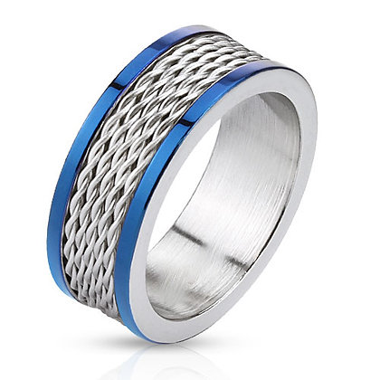Multi wire inlay & blue edge ring