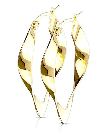 Gold wavy hoops