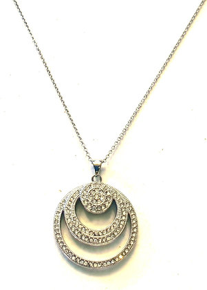 Silver double cutout pave pendant & necklace