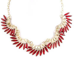 Statement necklace with red stones