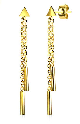 Gold link drop earrings