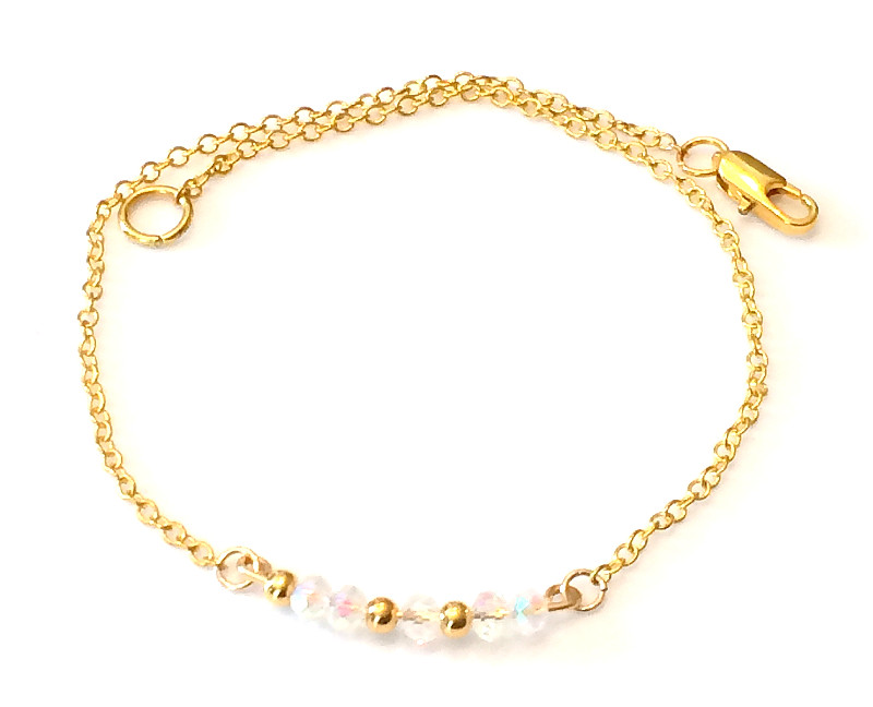 Gold anklet with rock crystals