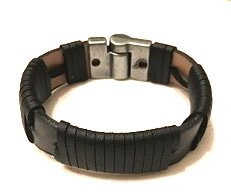 Black leather wrapped bracelet
