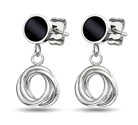 Black circle & silver drop earrings