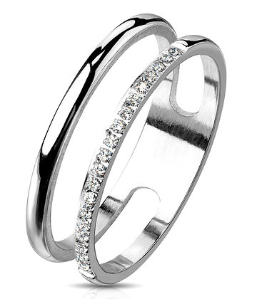 Double Pave Steel ring